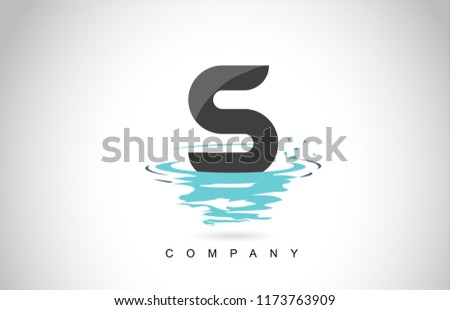 S Letter Logo Design with Water Splash Ripples Drops Reflection Vector Icon Illustration.