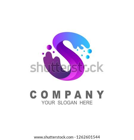 S letter logo in blue water drop,
