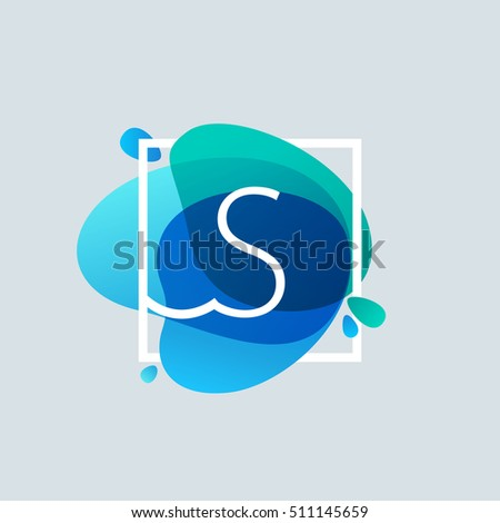 S letter logo in square frame at blue watercolor splash background. Vector ecology typography for your posters, invitations, cards.