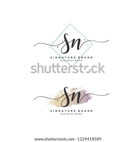 S N SN Initial logo template vector