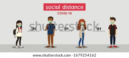 s.ocial distance, Space for safety, and people should be 1 meter apart, social distancing Photo stock ©