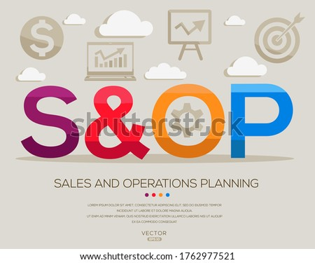 s&op mean (sales and operations planning) ,letters and icons,Vector illustration. Stock fotó ©