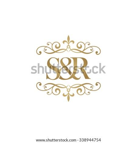 S&R Initial logo. Ornament ampersand monogram golden logo Stock fotó ©