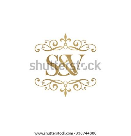 S&V Initial logo. Ornament ampersand monogram golden logo Stock fotó ©