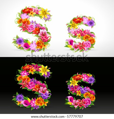 S, vector colorful flower font
