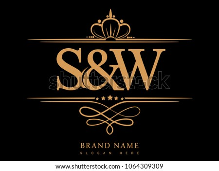 S&W Initial logo, Ampersand initial logo gold with crown and classic pattern
