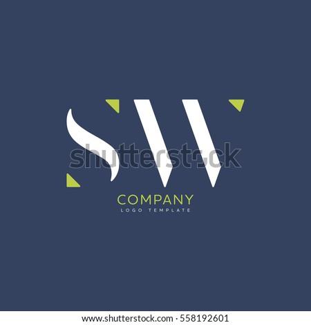 S W logo vector template Zdjęcia stock ©