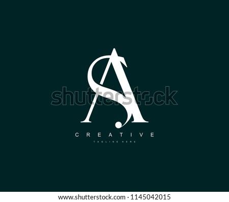 SA AS Letter Linked Luxury Premium Logo