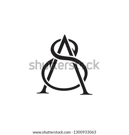 SA AS Letter  Luxury Premium Logo company simple design Stok fotoğraf ©