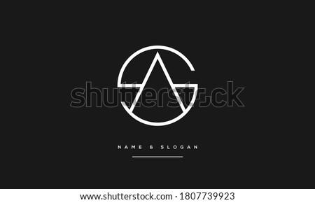 SA,AS ,S ,A  Abstract Letters Logo Monogram Stok fotoğraf ©