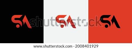 SA Logo Creative Modern Minimal Alphabet S A Initial Letter Mark Monogram Editable in Vector Format Stok fotoğraf ©