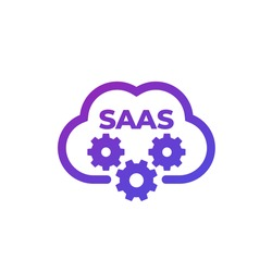 Saas icon with cloud, vector