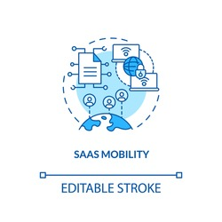 SaaS mobility concept icon. SaaS argument idea thin line illustration. Cloud technology for data access. Wireless connectivity. Vector isolated outline RGB color drawing. Editable stroke