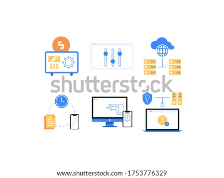 SaaS, PaaS, IaaS and other cloud computing services advantages flat icons: Saving Money, Easy Customization,