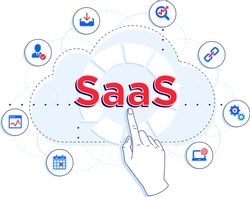 SaaS - software as a service - and iPaaS - integration platform as a service concept linear illustration. Client using SaaS for different purposes - files storage, statistics, cloud computing.