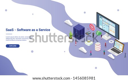 saas software as a service business concept with big word with team people for website template landing homepage website with isometric modern style - vector