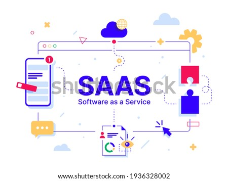 SaaS - Software as a service. Code line of programming internet application. Cloud software on computers with program code on the screen, infographic elements icon, app, virtual screens on white