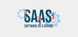 SAAS Software as a service. Informational online communication social media marketing technologies promotional email messages and web video reference for advertising and user support vector.