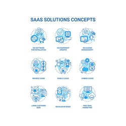 SaaS solutions concept icons set. Software-as-a-service idea thin line RGB color illustrations. Regular revenue. Customer base. Free trial marketing. Vector isolated outline drawings. Editable stroke