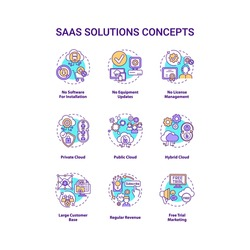 SaaS solutions concept icons set. Software-as-a-service idea thin line RGB color illustrations. Public, private, hybrid cloud. Large customer base. Vector isolated outline drawings. Editable stroke