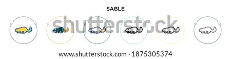 Sable icon in filled, thin line, outline and stroke style. Vector illustration of two colored and black sable vector icons designs can be used for mobile, ui, web