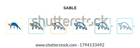 Sable vector icon in 6 different modern styles. Black, two colored sable icons designed in filled, outline, line and stroke style. Vector illustration can be used for web, mobile, ui