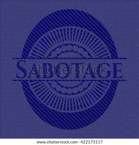 Sabotage badge with denim background