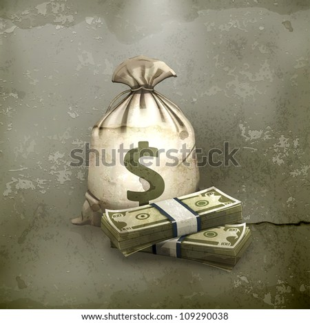 Sack and money, old style vector