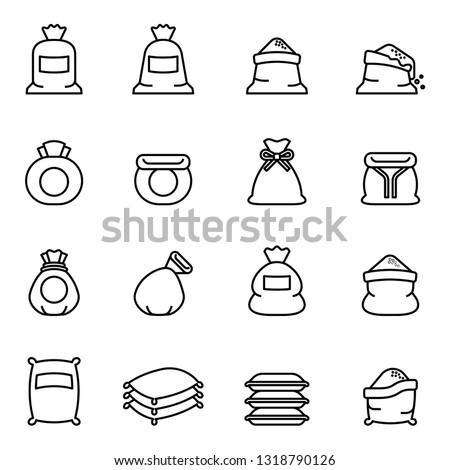 Sack, bag flour, money Bag icon with white background. Thin Line Style stock vector. Stock photo ©