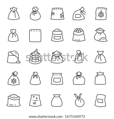 Sack, icon set. Bags with groats, sugar, flour, etc., various shapes, linear icons. Line with editable stroke Stock photo ©