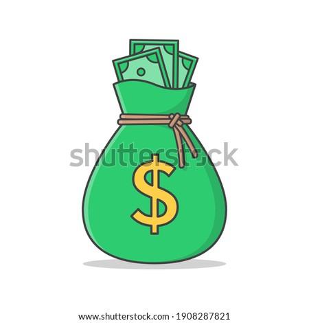 Sack Of Money Vector Icon Illustration. Money Bag Flat Icon