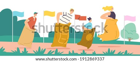 Sack Race Concept with Happy Family Characters Mother, Father and Children Jumping in Bags. Summer Outdoor Competition, Hopping Cheerful Game in Parkland or Stadium. Cartoon People Vector Illustration Stock photo ©