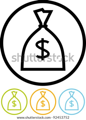 Sack with cash. U.S. Dollars - Vector icon