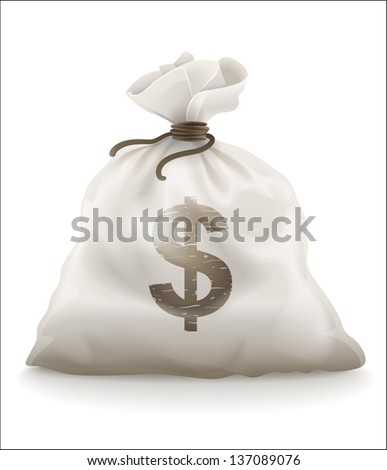 Sack with money vector illustration isolated on white background EPS10. Transparent objects and opacity masks used for shadows and lights drawing