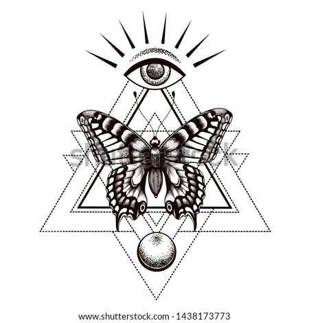 Sacral butterfly tattoo and t-shirt design. Butterfly in triangle at top is all-seeing eye of Horus with rays and moon below. Sacred geometry. Symbol soul, intuition, insight, immortality, rebirth