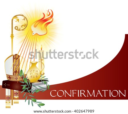 Sacrament of Confirmation, symbolic vector drawing illustration, with the holy olive oil and olive branch, a bishop\'s pastoral staff and mitre, a dove - symbol of the Holy Spirit.