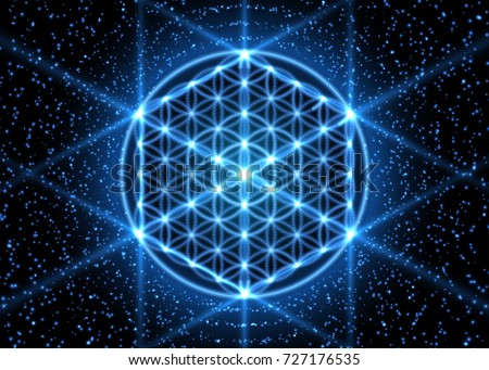 Sacred geometry, abstract glowing background. Vector Digital graphic for brochure, website, flyer, print, poster, other design