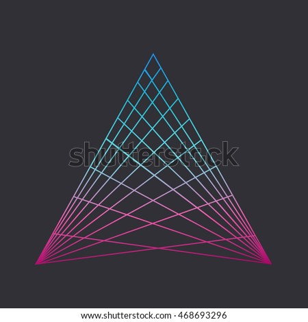 Sacred geometry. Alchemy, religion, philosophy, spirituality, hipster symbols and elements. Triangle with hyperbolic paraboloid