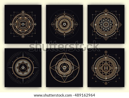 Sacred Geometry Design Set - Collection of Sacred Geometry Illustrations - Gold and White Elements on Dark Background - Sacred Geometry Symbols - Design Elements of Sacred Geometry
