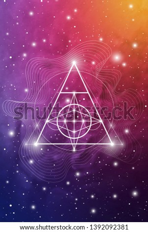 Sacred geometry design template with golden ratio numbers, interlocking circles, triangles and squares, flows of energy and particles in front of outer space background. The formula of nature.