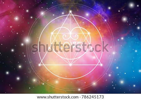 Sacred geometry esoteric Valentine greeting card with geometric hipster style heart on colorful cosmos background.