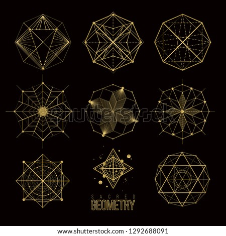 Sacred geometry forms, shapes of lines, logo, sign, symbol.