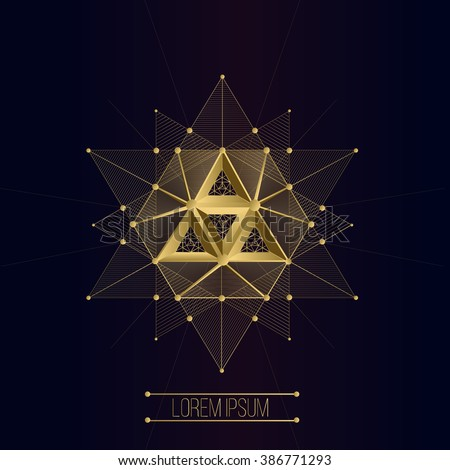 Sacred geometry forms, shapes of lines, logo, sign, symbol, emblem, badge, award, shape, pentagrams. 3D volumetric shape of lines and a triangle pyramid