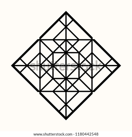 Sacred geometry. Graphic linear rhombus. Secret symbol of geometry. Triangular symbol. Labyrinth of illuminates. Alchemy; religion; philosophy; astrology and spirituality. Vector illustration.