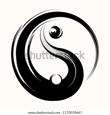 Sacred geometry. Hand drawn yin yang symbol of harmony and balance, vector design element. Asian icon. Black and white. Beginning. Grunge style. Vector illustration.