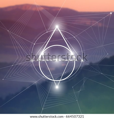 Sacred geometry illustration with golden ratio numbers, interlocking circles, triangles and squares, flows of energy and particles in front of natural photographic background. The formula of nature.