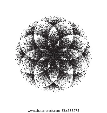 Sacred Geometry. Lotus Flower.  Mandala Ornament / Pattern. Esoteric Symbol - Flower of Life. Isolated on White Vector Illustration.