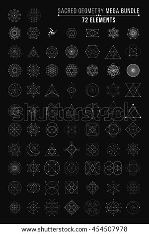 Sacred Geometry Mega Bundle. 72 Elements. Vector Illustration