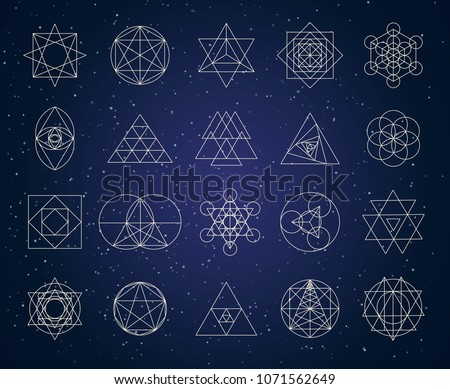 sacred geometry outline shapes vector set