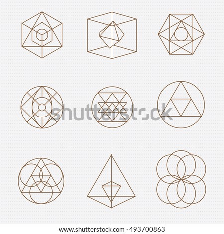 Sacred geometry. Sacred geometry vector design elements. Philosophy, spirituality, alchemy, religion, symbols and elements.